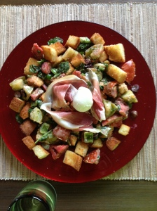 Panzanella: A favorite end of the summer meal....roasted garlic, kalamatas, (CSA) arugula, basil, (CSA) heirloom tomatoes, (CSA) bell peppers, and toasted gf bread tossed in an emulsified(!) vinaigrette, with mozzarella and prosciutto.