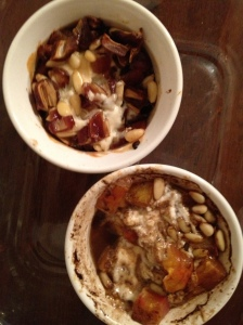...we snacked on two delicious goat cheese app's by Jeff (tomato-basalmic and date-pine nut)