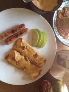 when my sister and I were little we used to make crepes for breakfast nearly every Saturday. when she stayed with me recently I made this autumn-ified version...paleo pumpkin crepes with pumpkin mousse filling...and apple-maple chicken sausages